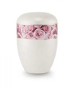 Urnen online Shop Auswahl: Urne Perlmutt weiß Motiv Rosa Rosen
