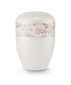 Urnen online Shop Auswahl: Urne Perlmutt weiß Motiv Weiße Rosen