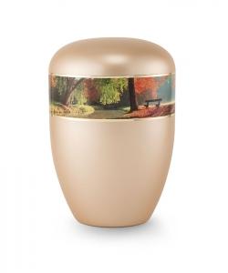 Urnen online Shop Auswahl: Urne gold apricot Perlmutt Motiv Bank am Fluß