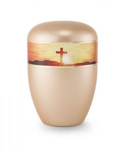 Urnen online Shop Auswahl: Urne gold apricot Perlmutt Motiv Kreuz im Sonnenuntergang