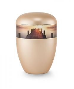Urnen online Shop Auswahl: Urne gold apricot Perlmutt Motiv Steg im Sonnenuntergang