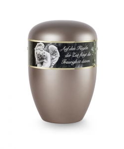 Urnen online Shop Auswahl: Urne Perlmutt braun Dekor Engel mit Text