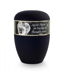 Urnen online Shop Auswahl: Urne schwarz matt Dekor Engel mit Text
