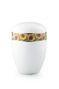 Urnen online Shop Auswahl: Urne weiß Sonnenblumen Motiv