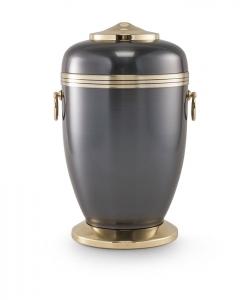 Kupfer-Urne dunkel gefärbt Zierrand Sockel