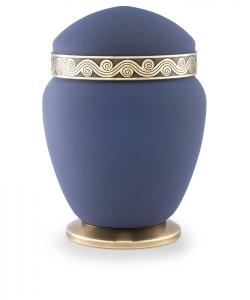 Kupfer-Urne blau Wellenrelief