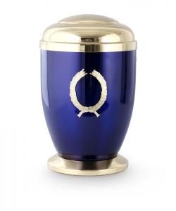 Kupferurne kobalt-blau Lorbeerkranz