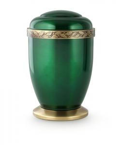 Kupferurne grün Eichenlaub