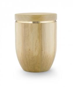 Urne aus Erlen-Holz-Natur Goldstreifen