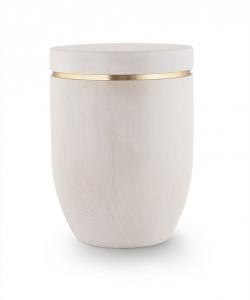 Urne Birkenholz weiß gebeizt mit Goldstreifen