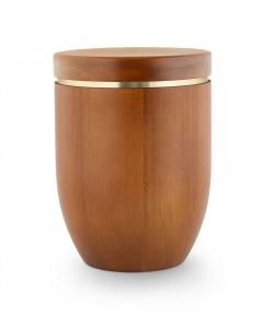 Urne Mangoholz gebeizt mit Goldstreifen