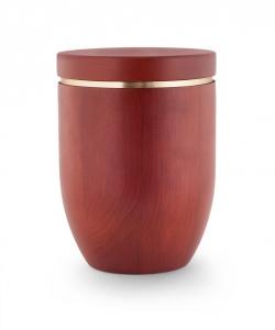 Urne Mahagoni Holz gebeizt mit Goldstreifen