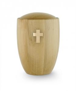 Urne aus Holz:  Erle natur Kreuz Messing gebürstet