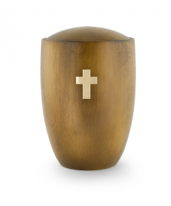 Urne aus Holz:  Erle Teak Kreuz Messing gebürstet