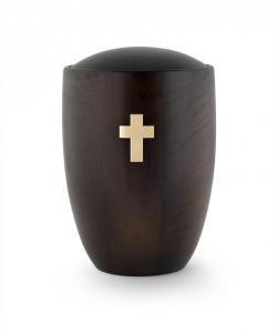 Urne aus Holz:  Erle  dunkel Kreuz Messing gebürstet