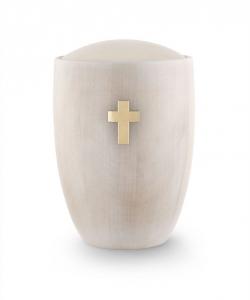 Holzurne weiß Erle Kreuz Messing gebürstet
