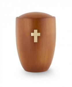 Urne aus Holz:  Erle Mango Kreuz Messing gebürstet