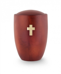 Urne aus Holz:  Mahagoni aus Erle Kreuz Messing gebürstet