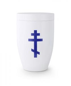 Urne weiß Kreuz russisch-orthodox