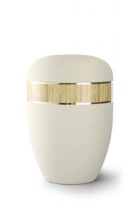 Urnen online Shop Auswahl: Urne Samtton creme, Dekor Pinie