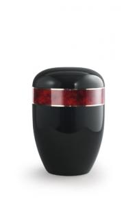 Urnen online Shop Auswahl: Urne schwarz Klavierlack, Wurzelholz Dekor