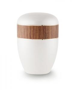 Urnen online Shop Auswahl: Urne weiß Perlmutt Dekor Kirsche