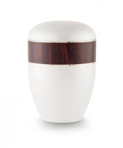 Urnen online Shop Auswahl: Urne weiß Perlmutt Dekor Mahagoni