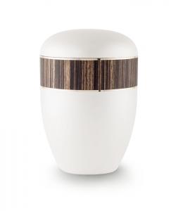 Urnen online Shop Auswahl: Urne weiß Perlmutt Dekor Zebrano