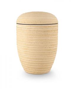 Urnen online Shop Auswahl: Urne Naturstoff Steinoptik gelb