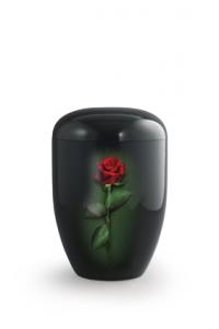 Urnen online Shop Auswahl: Urne schwarz Klavierlack rote Rose