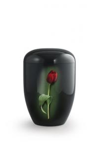 Urnen online Shop Auswahl: Urne schwarz Klavierlack rote Tulpe