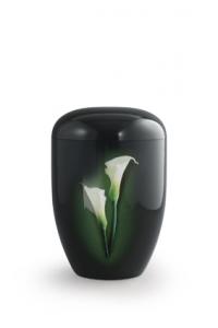 Urnen online Shop Auswahl: Urne schwarz Klavierlack weiße Callas