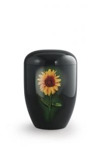 Urnen online Shop Auswahl: Urne schwarz Klavierlack Sonnenblume