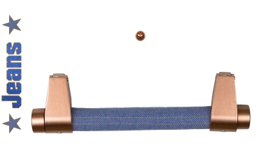 Stangengriffe modern mit Jeans Halterungen in Kupfer