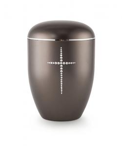 Urnen online Shop Auswahl: Urne braun Kristall Kreuz