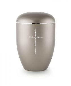 Urnen online Shop Auswahl: Urne anthrazit Kristall Kreuz