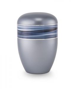 Urnen online Shop Auswahl: Urne stahlgrau Wellendekor