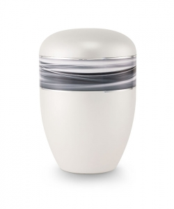 Urnen online Shop Auswahl: Urne weiß Wellendekor