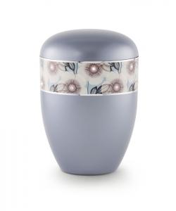 Urnen online Shop Auswahl: Urne Stahlgrau florales Dekor