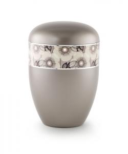 Urnen online Shop Auswahl: Urne dunkelgrau florales Dekor