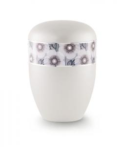 Bio Urne weiß florales Dekor