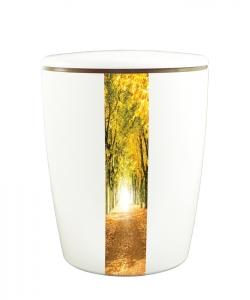 Bio Urne weiß vertikales Motiv Waldweg im Herbst