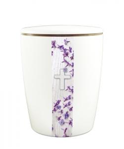 Urnen online Shop Auswahl: Urne weiß vertikales Motiv Fliederblüten