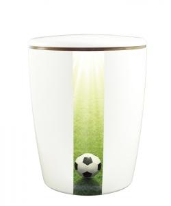 Urnen online Shop Auswahl: Urne weiß vertikales Motiv Fussball Rasen