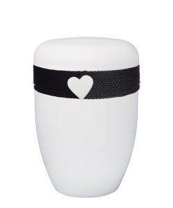 Urnen online Shop Auswahl: Urne weiß Kordel schwarz Herz weiß