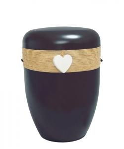 Urnen online Shop Auswahl: Urne schwarz Jutekordel Herz weiß
