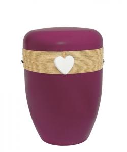Urnen online Shop Auswahl: Urne rot Jutekordel Herz weiß