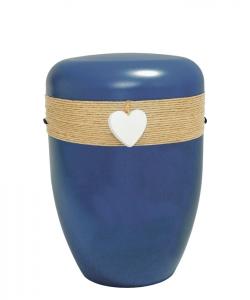 Bio Urne blau Jutekordel Herz weiß