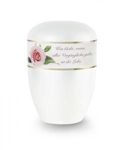 Urnen online Shop Auswahl: Urne weiß Perlmutt Dekor rosa Rose mit Text
