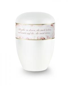 Urnen online Shop Auswahl: Urne weiß Perlmutt Dekor weiße Rosen mit Text
